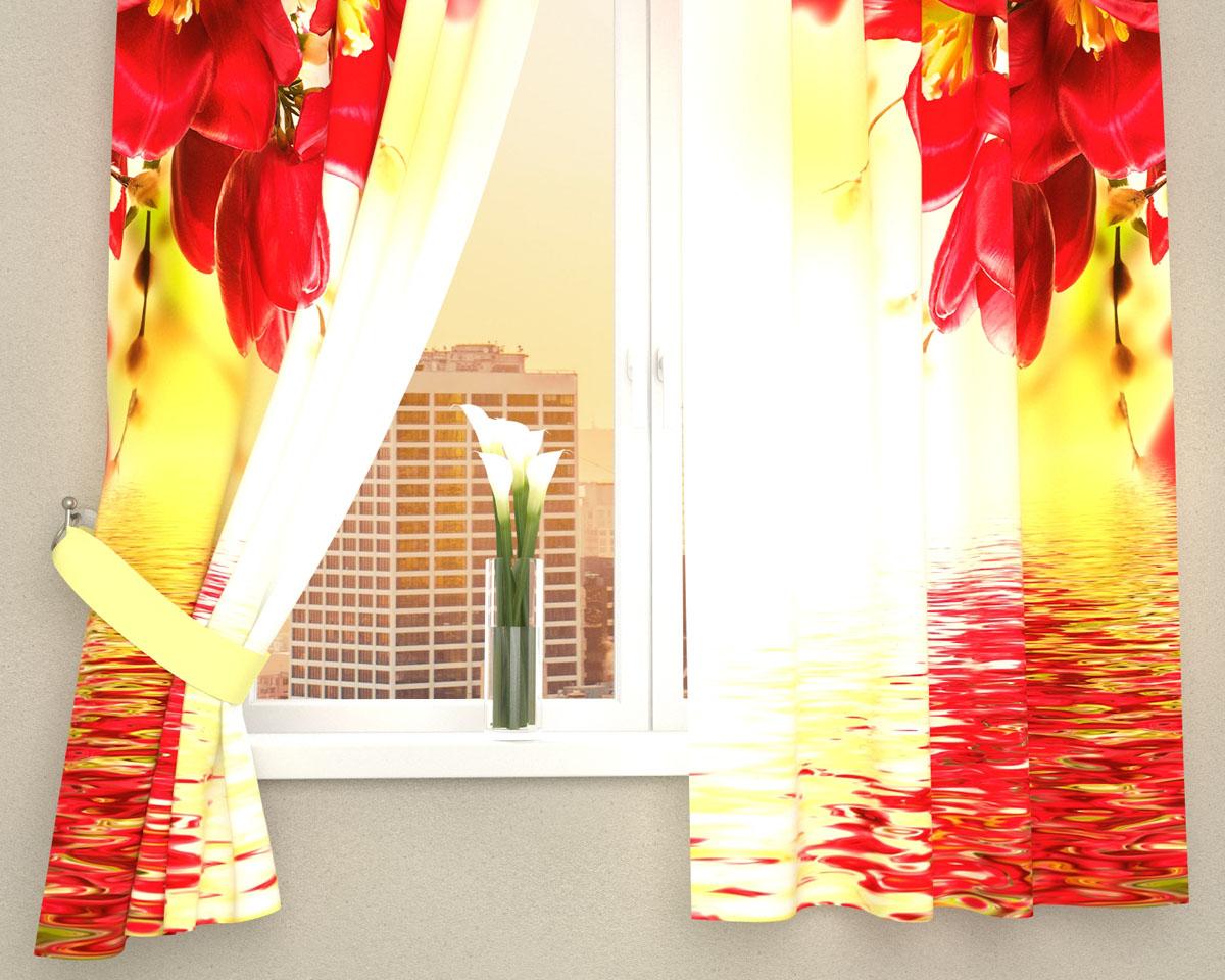 """Фотошторы для кухни Сирень """"Букет с красными цветами"""", выполненные из габардина (100% полиэстера), отлично дополнят украшение любого интерьера. Особенностью ткани габардин является небольшая плотность, из-за чего ткань хорошо пропускает воздух и солнечный свет. Ткань хорошо держит форму, не требует специального ухода. Крепление на карниз при помощи шторной ленты на крючки.   В комплекте 2 шторы. Ширина одного полотна: 145 см.Высота штор: 160 см.Рекомендации по уходу: стирка при 30 градусах, гладить при температуре до 110 градусов.Изображение на мониторе может немного отличаться от реального.Подхваты в комплект не входят."""