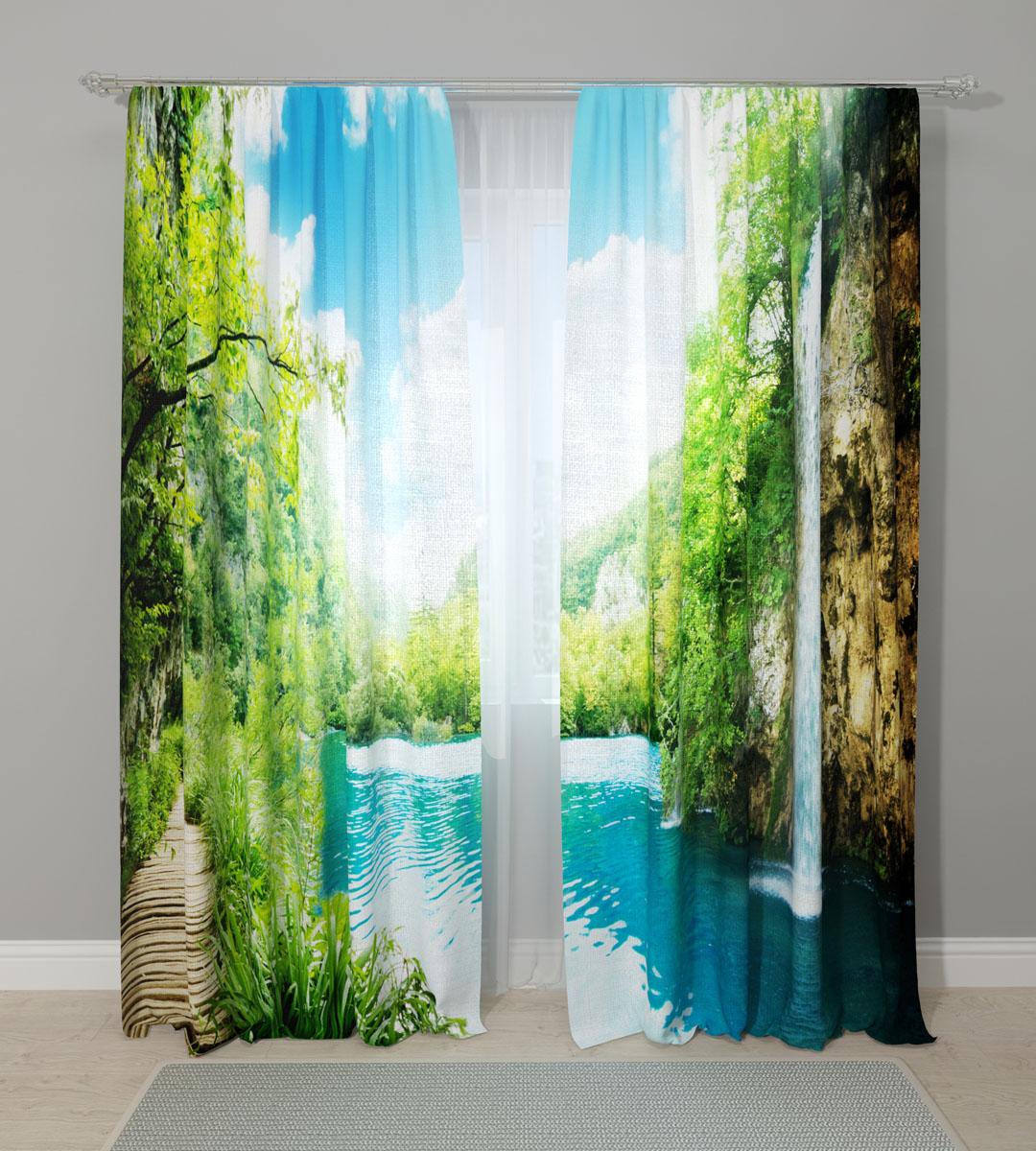 Комплект фотоштор Сирень Тропический водопад, на ленте, высота 260 см фототюль сирень тропический закат
