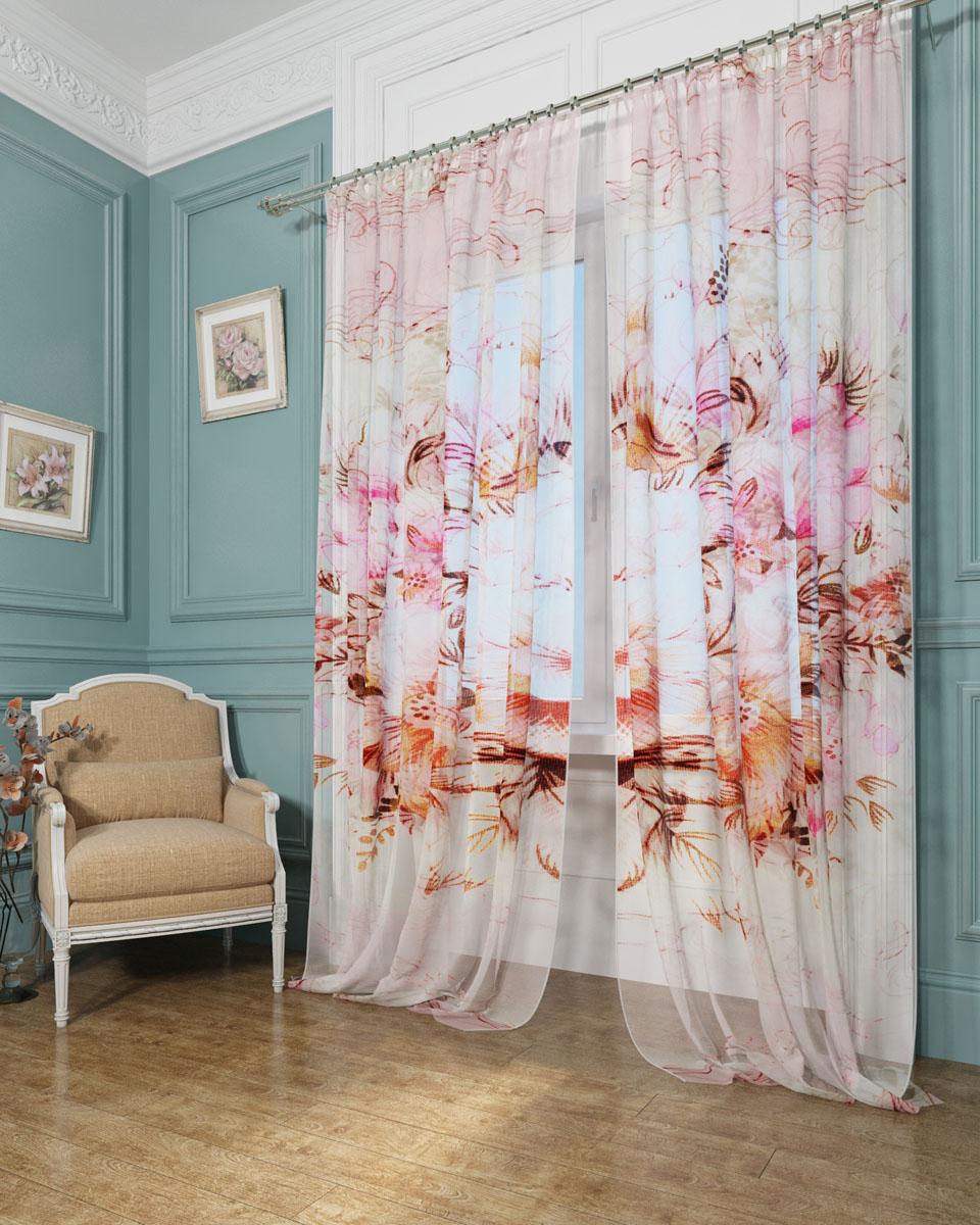 Комплект тюлей Сирень Лимиран, на ленте, высота 260 см комплект фотоштор сирень цветок любви на ленте высота 260 см