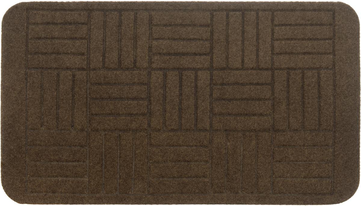 """Оригинальный придверный коврик EFCO """"Оскар. Паркет"""" надежно  защитит помещение от уличной пыли и грязи. Изделие  выполнено из 100% полипропилена, основа - латекс.  Такой коврик сохранит привлекательный внешний вид на  долгое время, а благодаря латексной основе, он легко чистится  и моется."""