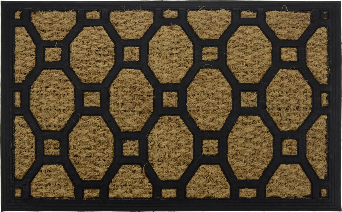 """Оригинальный придверный коврик Shree Sai International  """"Панама 2"""" надежно защитит помещение от уличной пыли и  грязи. Он изготовлен из жесткого кокосового волокна и  нескользящей резиновой основы. Волокна кокоса не  подвержены гниению и не темнеют, поэтому коврик сохранит  привлекательный внешний вид на долгое время."""