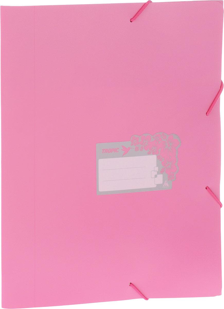 Бюрократ Папка-короб на резинке Tropic формат А4 цвет розовый816256Папка-короб на резинке Tropic - это удобный и функциональный офисный инструмент, предназначенный для хранения и транспортировки большого объема рабочих бумаг и документов формата А4.На лицевой стороне папки имеется место для ФИО владельца, оформленное рисунком с тропическими цветами. Папка изготовлена из жесткого, но гибкого фактурного пластика и закрывается при помощи угловых резинок. Резинки не позволят папке раскрыться в неподходящий момент. Папка надежно сохранит ваши документы и сбережет их от повреждений, пыли и влаги.