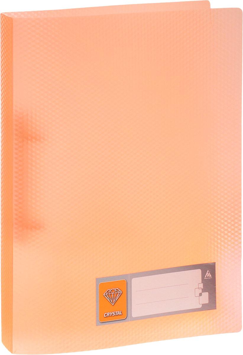 Бюрократ Папка на кольцах Crystal формат А4 цвет светло-оранжевый папка с 40 прозр вклад бюрократ crystal cr40or a4 пластик 0 5мм оранжевый