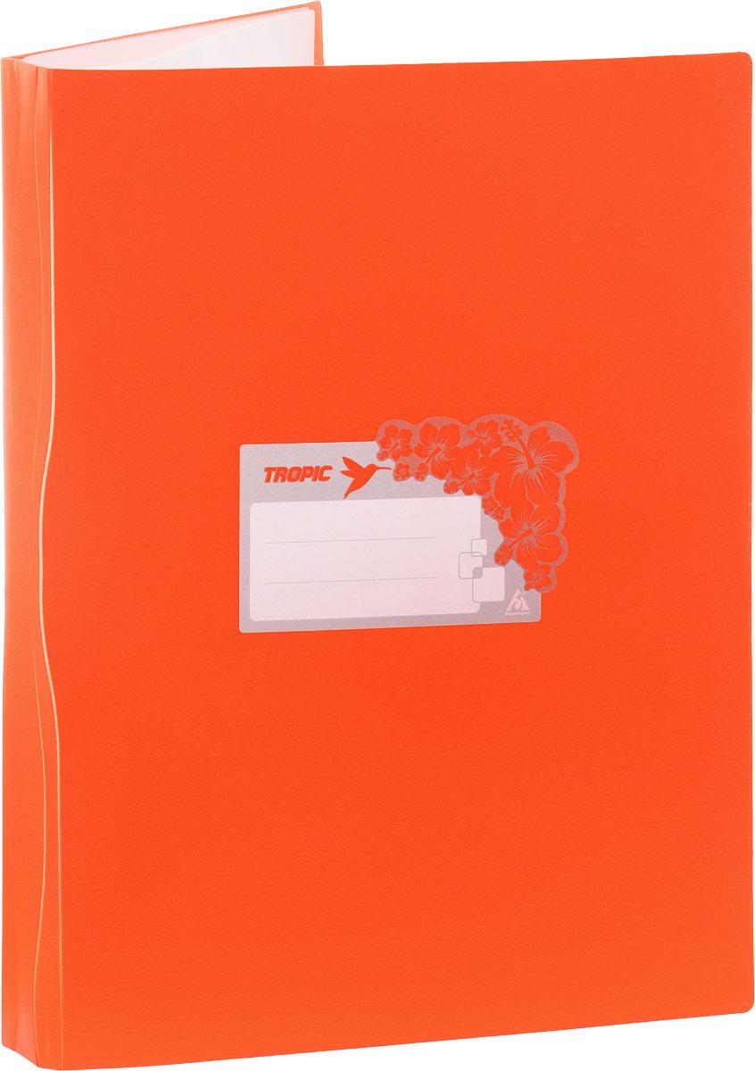 Бюрократ Папка Tropic с файлами 20 листов формат А4 цвет оранжевый817063_оранжевыйПапка Tropic - это удобный и функциональный офисный инструмент, предназначенный для хранения и транспортировки большого объема рабочих бумаг и документов формата А4. Папка идеально подходит для подшивки бумаг в архивные папки без перфорирования дыроколом, а также для хранения различных документов. На лицевой стороне папки имеется место для ФИО владельца, оформленное рисунком с тропическими цветами. Папка изготовлена из прочного высококачественного пластика и содержит 20 прозрачных вкладышей.С такой папкой все ваши документы будут в полной сохранности.