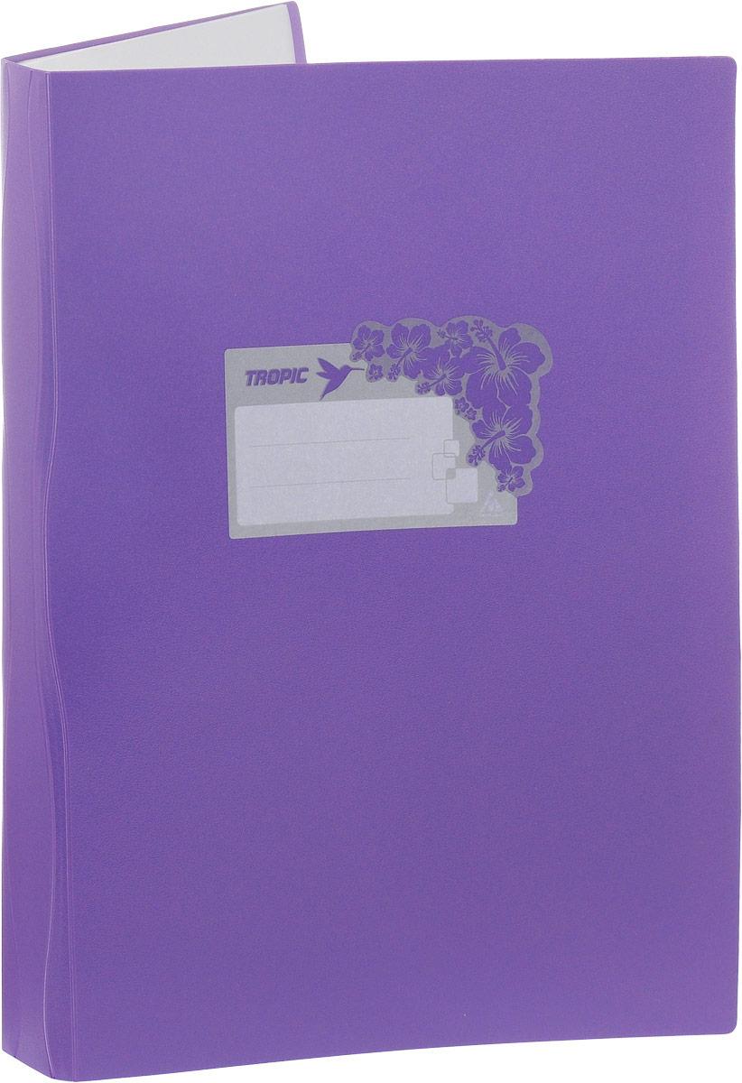 Бюрократ Папка Tropic с файлами 40 листов формат А4 цвет фиолетовый817070_фиолетовыйПапка Tropic - это удобный и функциональный офисный инструмент, предназначенный для хранения и транспортировки большого объема рабочих бумаг и документов формата А4. Папка идеально подходит для подшивки бумаг в архивные папки без перфорирования дыроколом, а также для хранения различных документов. На лицевой стороне папки имеется место для ФИО владельца, оформленное рисунком с тропическими цветами. Папка изготовлена из прочного высококачественного пластика и содержит 40 прозрачных вкладышей.С такой папкой все ваши документы будут в полной сохранности.