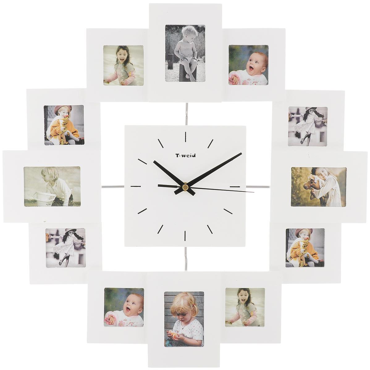Часы настенные HomeMaster, с 12 фоторамками, цвет: белыйМ9013ВWhiteНастенные часы HomeMaster кварцевые с фоторамками - это прекрасныйпредмет декора, а также универсальный подарок практически по любому поводу.Корпус часов, выполнен из дерева с белым матовым покрытием и оформлендвенадцатью фоторамками. Циферблат часов оснащен тремя стрелками: часовой, минутной исекундной. На задней стенке часов расположена металлическая петелька дляподвешивания и блок с часовым механизмом. Часы с фоторамками прекрасно впишутся в любой интерьер. В зависимостиоттого, что вы поместите в рамки, будет меняться и стиль часов. Тип механизма: плавающий, бесшумный. Рекомендуется докупить батарейку типа АА (не входит в комплект).Размер изделия: 45 х 45 х 5 см. Размер фотографий: 5 х 7 см, 5 х 5 см.
