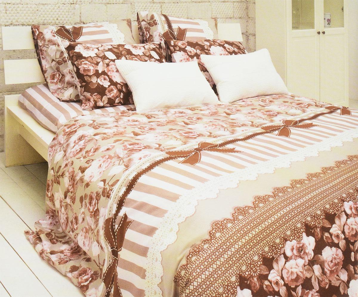 Комплект белья Tiffanys Secret Шоколадный этюд, 2-спальный, наволочки 70х70, цвет: розовый, коричневый2040815175Комплект постельного белья Tiffanys Secret Шоколадный этюд является экологически безопасным для всей семьи, так как выполнен из сатина (100% хлопок). Комплект состоит из пододеяльника, простыни и двух наволочек. Предметы комплекта оформлены оригинальным рисунком.Благодаря такому комплекту постельного белья вы сможете создать атмосферу уюта и комфорта в вашей спальне.Сатин - это ткань, навсегда покорившая сердца человечества. Ценившие роскошь персы называли ее атлас, а искушенные в прекрасном французы - сатин. Секрет высококачественного сатина в безупречности всего технологического процесса. Эту благородную ткань делают только из отборной натуральной пряжи, которую получают из самого лучшего тонковолокнистого хлопка. Благодаря использованию самой тонкой хлопковой нити получается необычайно мягкое и нежное полотно. Сатиновое постельное белье превращает жаркие летние ночи в прохладные и освежающие, а холодные зимние - в теплые и согревающие. Сатин очень приятен на ощупь, постельное белье из него долговечно, выдерживает более 300 стирок, и лишь спустя долгое время материал начинает немного тускнеть. Оцените все достоинства постельного белья из сатина, выбирая самое лучшее для себя!Советы по выбору постельного белья от блогера Ирины Соковых. Статья OZON Гид