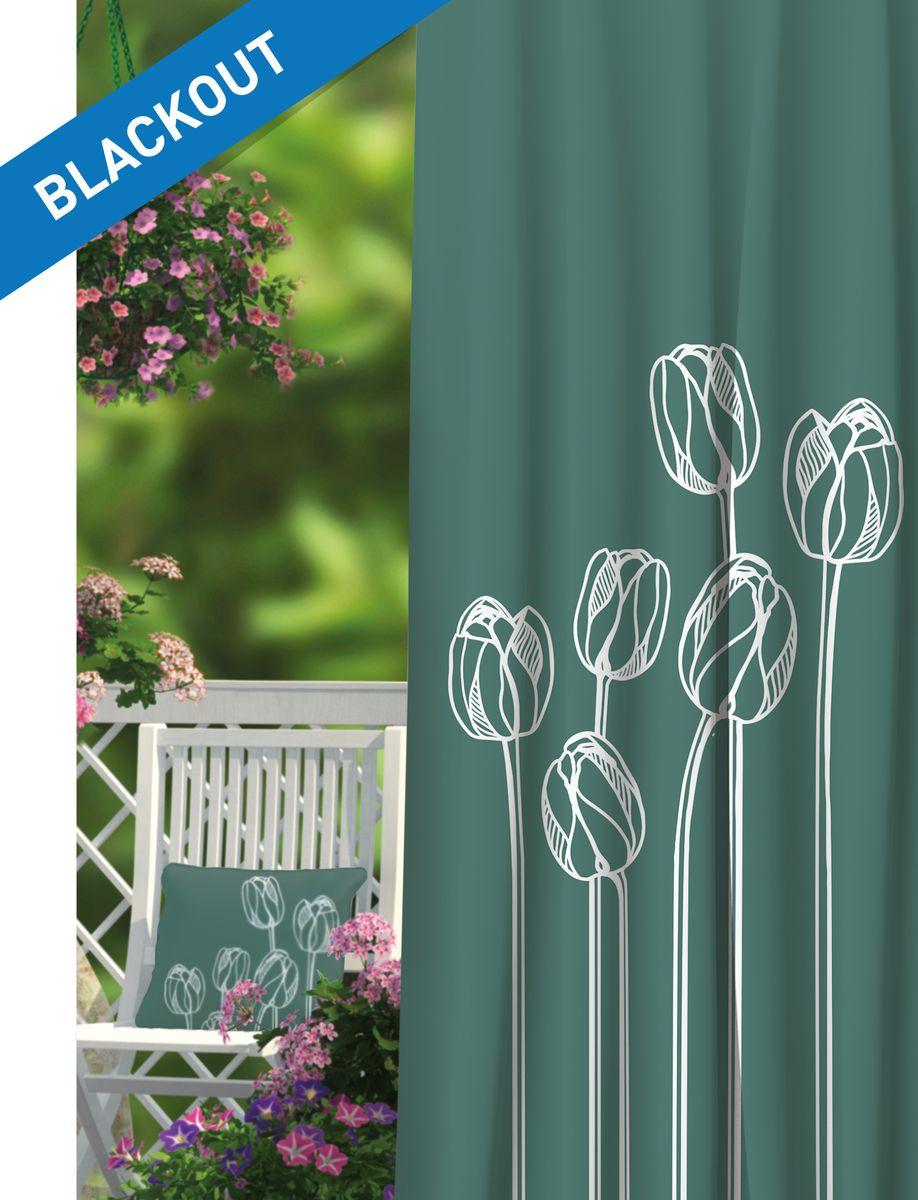 Штора Волшебная ночь Tulips, на ленте, цвет: белый, морская волна, высота 270 см. 197846197846Шторы коллекции Волшебная ночь - это готовое решение для вашего интерьера, гарантирующее красоту, удобство и индивидуальный стиль! Штора изготовлена из многослойной ткани Blackout, которая обеспечивает 100% затемнение от света, а также защищает от сквозняков. Длина шторы регулируется с помощью клеевой паутинки (в комплекте). Изделие крепится на вшитую шторную ленту: на крючки или путем продевания на карниз. Дизайнеры марки Волшебная ночь предлагают уже сформированные комплекты штор из различных тканей и рисунков для создания идеальной композиции на окне. Для удобства выбора дизайны штор распределены в стилевые коллекции: этно, версаль, лофт, прованс. В коллекции Волшебная ночь к данной шторе вы также сможете подобрать шторы из других тканей: габардин и сатен (частичное затемнение), вуаль (практически нулевое затемнение), которые будут прекрасно сочетаться по дизайну и обеспечат особый уют вашему дому.