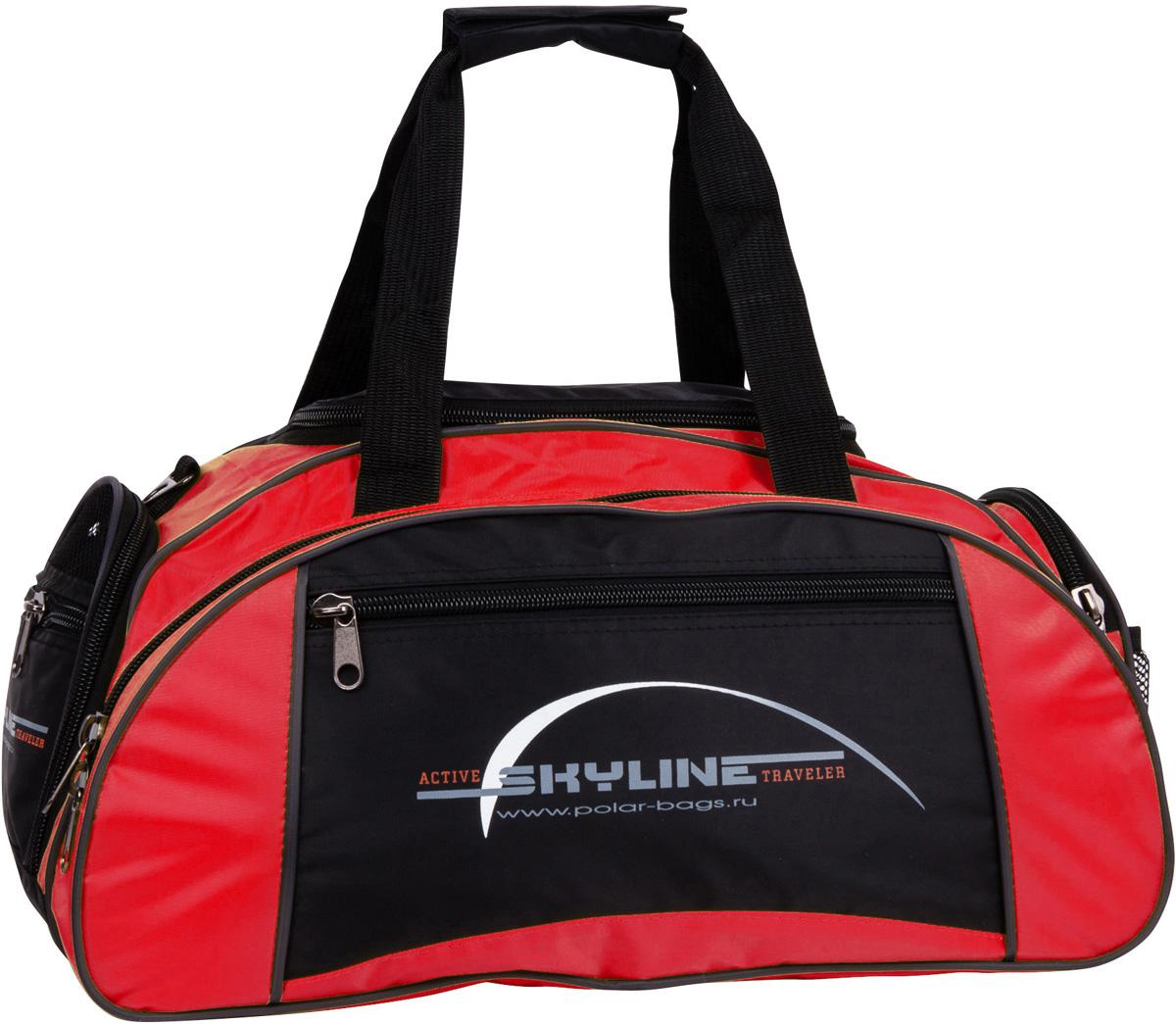 Сумка спортивная Polar Скайлайн, цвет: черный, красный, 36 л. 6063