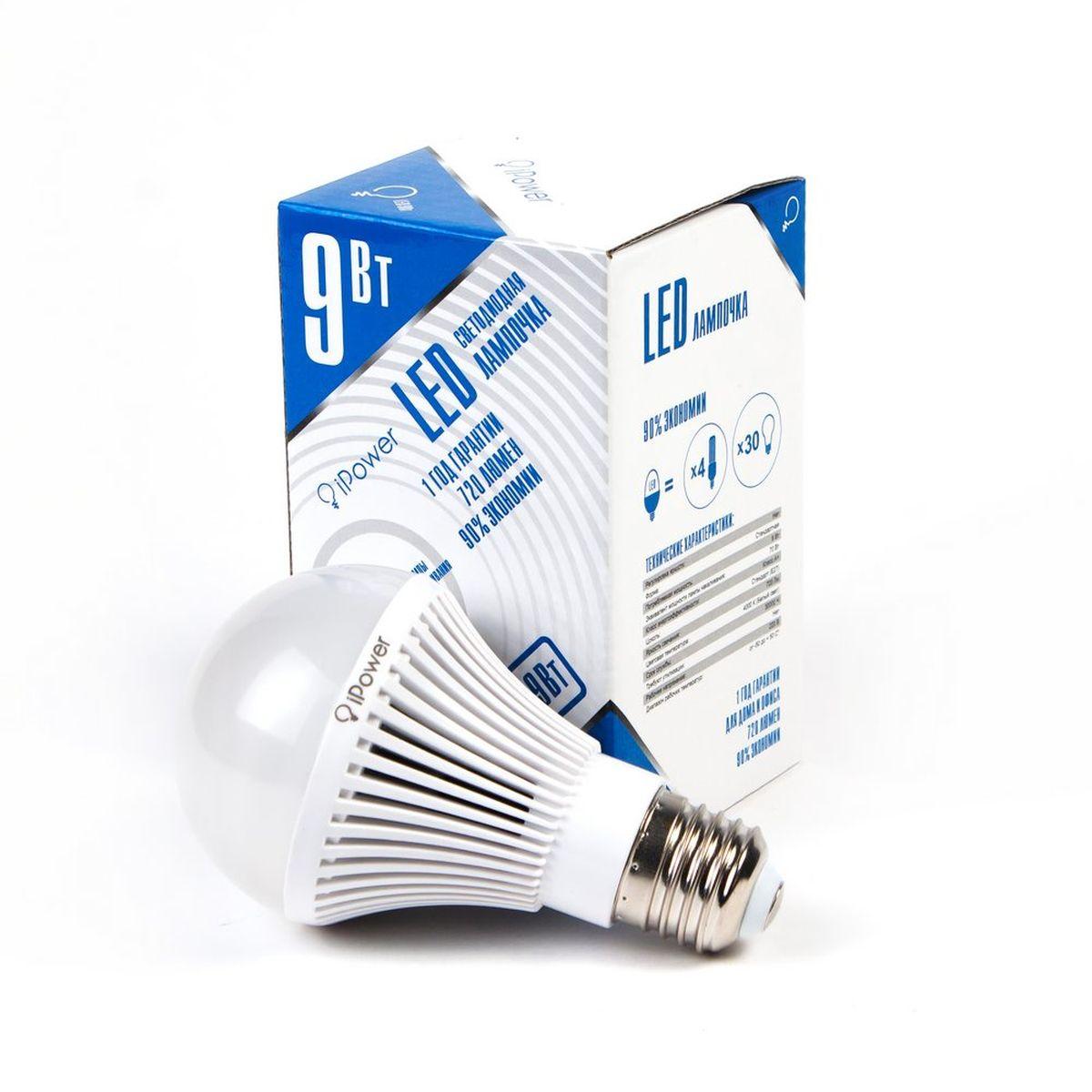 Лампа светодиодная iPower, цоколь Е27, 9W, 4000К1001953Светодиодная лампа iPower имеет очень низкое энергопотребление. В сравнении с лампами накаливания LED потребляет в 12 разменьше электричества, а в сравнении с энергосберегающими - в 2-4 раза меньше. При этом срок службы LED лампочки в 5 раз выше, чемэнергосберегающей, и в 50 раз выше, чем у лампы накаливания. Светодиодная лампа iPower создает мягкий рассеивающий свет безмерцаний, что совершенно безопасно для глаз. Она специально разработана по требованиям российских и европейских законов и подходит ковсем осветительным устройствам, совместимым со стандартным цоколем E27. Использование светодиодов от мирового лидера Epistar - этозалог надежной и стабильной работы лампы. Нейтральный белый оттенок свечения идеально подойдёт для освещения, как офисов,образовательных и медицинских учреждений, так и кухни, гостиной.Диапазон рабочих температур: от -50°C до +50°С.Материал: поликарбонат.Потребляемая мощность: 9 Вт.Рабочее напряжение: 220В.Световая температура: 4000К (белый свет).Срок службы: 30000 часов.Форма: стандарт.Цоколь: стандарт (E27).Эквивалент мощности лампы накаливания: 70 Вт.Яркость свечения: 720 Лм.