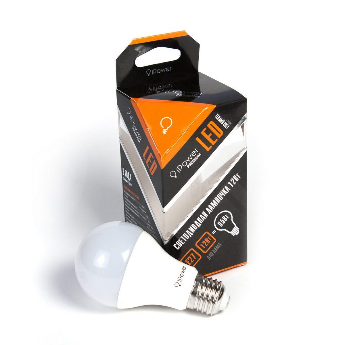 Лампа светодиодная iPower Premium, цоколь Е27, 12W, 2700К1001966Светодиодная лампа iPower Premium имеет очень низкое энергопотребление. В сравнении с лампами накаливания LED потребляет в 12 разменьше электричества, а в сравнении с энергосберегающими - в 2-4 раза меньше. При этом срок службы LED лампочки в 5 раз выше, чемэнергосберегающей, и в 50 раз выше, чем у лампы накаливания. Светодиодная лампа iPower Premium создает мягкий рассеивающий свет безмерцаний, что совершенно безопасно для глаз. Она специально разработана по требованиям российских и европейских законов и подходит ковсем осветительным устройствам, совместимым со стандартным цоколем E27. Использование светодиодов от мирового лидера Epistar - этозалог надежной и стабильной работы лампы. Теплый оттенок света лампы по световой температуре соответствует обычной лампе накаливания ипозволит создать уют в доме и местах отдыха.Диапазон рабочих температур от -50°С до +50 °СМатериал: алюминий, поликарбонат.Потребляемая мощность: 12 Вт.Рабочее напряжение: 220В.Световая температура: 2700К (теплый свет).Срок службы: 50000 часов.Форма: стандарт.Цоколь: стандарт (E27).Эквивалент мощности лампы накаливания: 95 Вт.Яркость свечения: 1055 Лм.