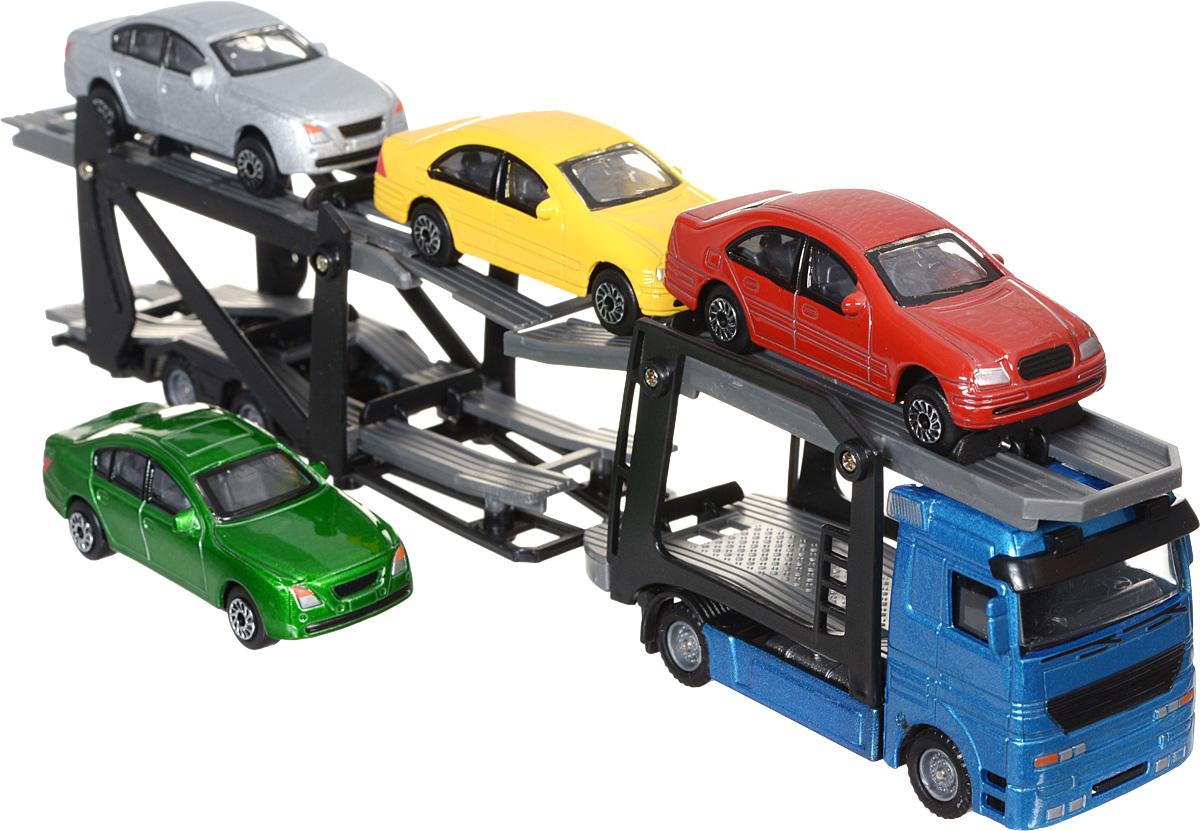 Dickie Toys Набор машинок Car Trailer цвет автовоза голубой 5 шт игровые наборы dickie набор машинок с трассой пазлами