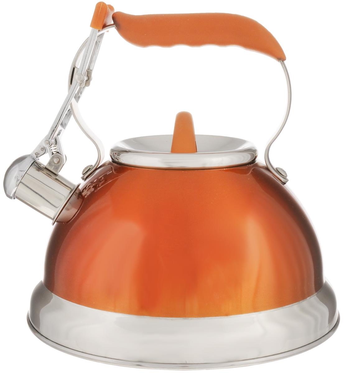 Чайник Calve, со свистком, цвет: оранжевый, 2,7 лCL-1461_оранжевыйЧайник Calve изготовлен из высококачественной нержавеющей стали 18/10, внешние стенки имеют цветное глянцевое покрытие. Нержавеющая сталь обладает высокой устойчивостью к коррозии, не вступает в реакцию с холодными и горячими продуктами и полностью сохраняет их вкусовые качества. Особая конструкция капсулированного дна способствует высокой теплопроводности и равномерному распределению тепла. Чайник оснащен удобной фиксированной ручкой с силиконовым покрытием. Носик чайника имеет откидной свисток с перфорацией в виде смайлика, звуковой сигнал которого подскажет, когда закипит вода. Свисток открывается с помощью рычага на ручке чайника. Чайник подходит для всех типов плит, включая индукционные. Можно мыть в посудомоечной машине.Диаметр чайника (по верхнему краю): 10 см.Высота чайника (без учета ручки и крышки): 11,5 см.Высота чайника (с учетом ручки): 22 см.