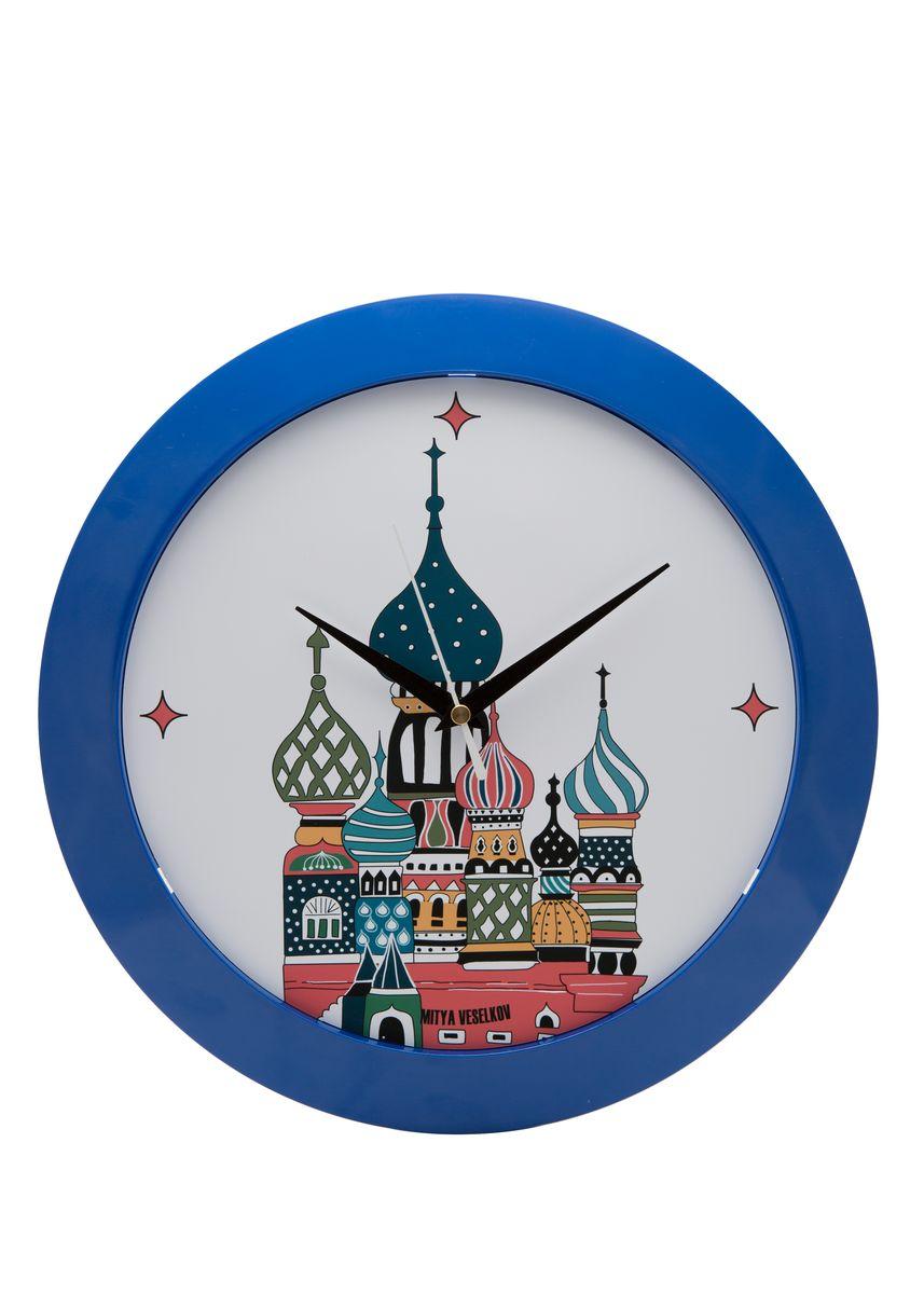 Часы настенные Mitya Veselkov Храм в цвете, цвет: синий. MVC.NAST-008