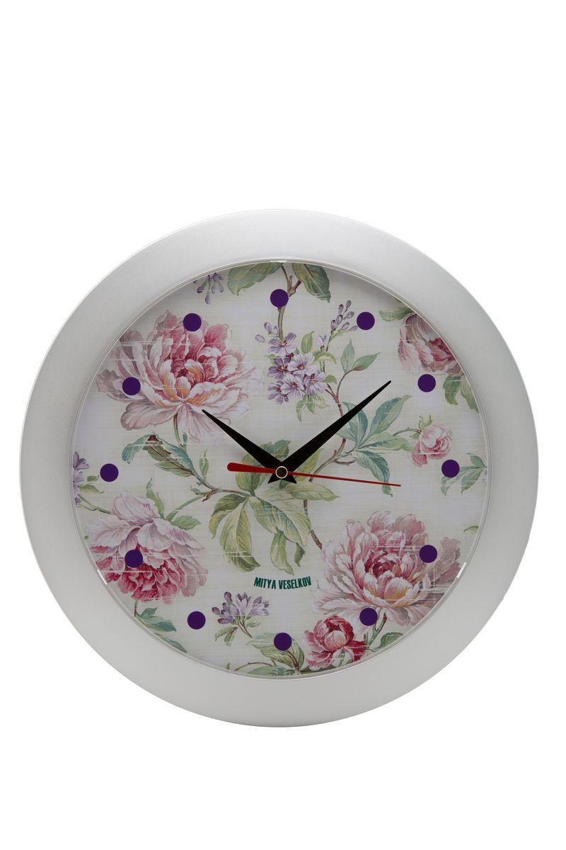 Часы настенные Mitya Veselkov Пионы, цвет: белый. MVC.NAST-009
