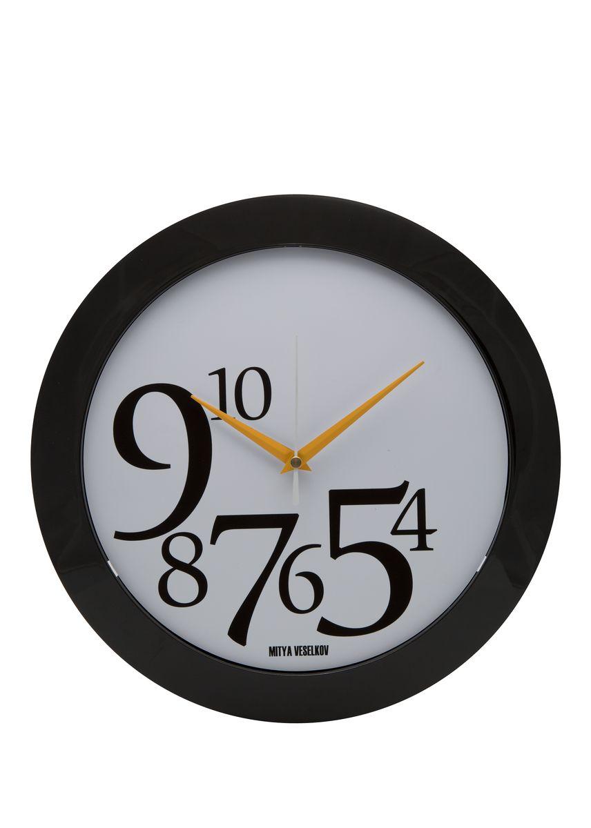 Часы настенные Mitya Veselkov Цифры слева на белом, цвет: черный. MVC.NAST-014