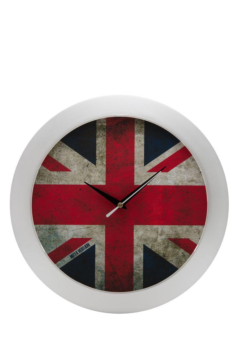 Часы настенные Mitya Veselkov Потертый британский флаг, цвет: белый. MVC.NAST-025MVC.NAST-025