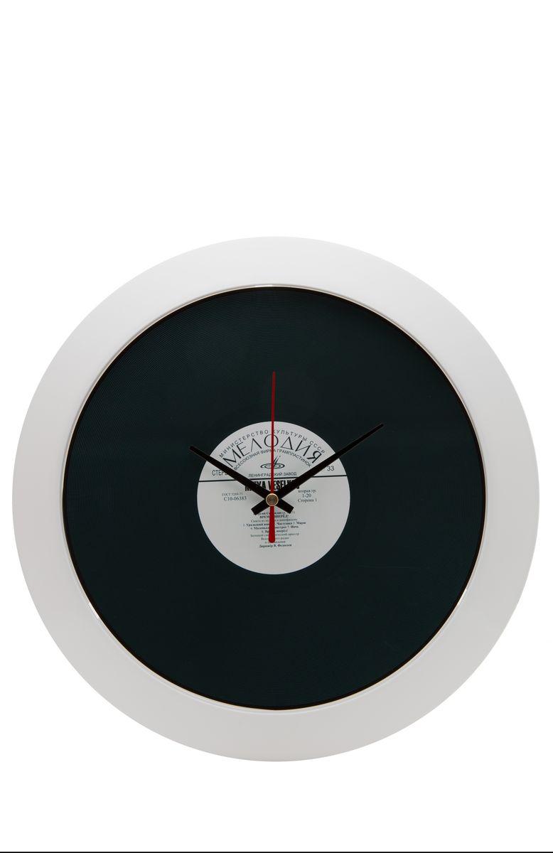 Часы настенные Mitya Veselkov Пластинка, цвет: белый, черный. MVC.NAST-027