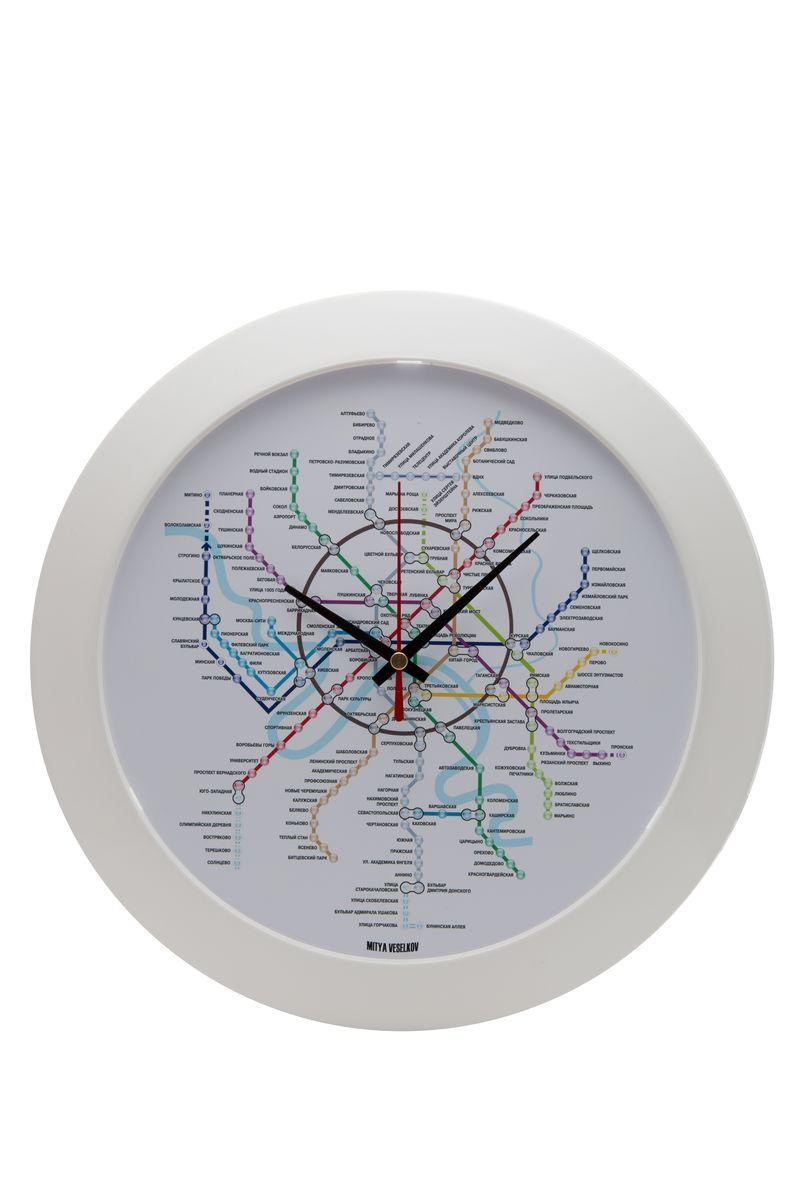 Часы настенные Mitya Veselkov Карта метро, цвет: белый. MVC.NAST-028