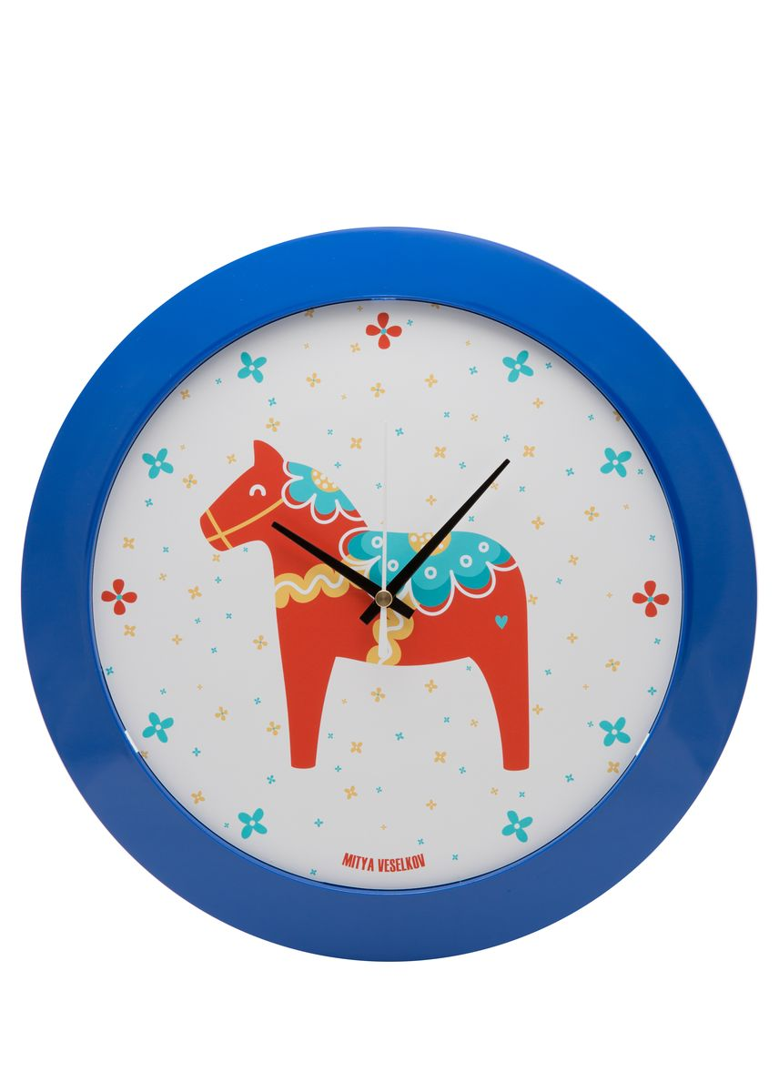 Часы настенные Mitya Veselkov Скандинавская лошадка, цвет: синий. MVC.NAST-033MVC.NAST-033