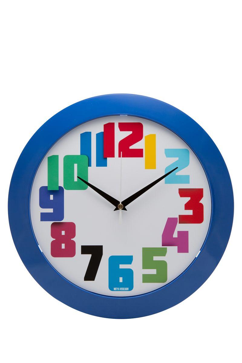 Часы настенные Mitya Veselkov Цветные числа, цвет: синий. MVC.NAST-034MVC.NAST-034