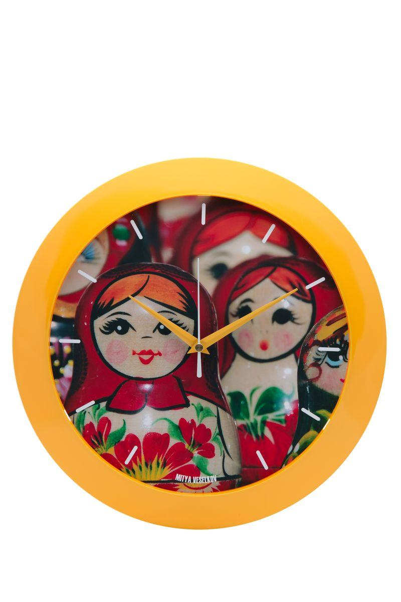 Часы настенные Mitya Veselkov Матрешки, цвет: желтый. MVC.NAST-036