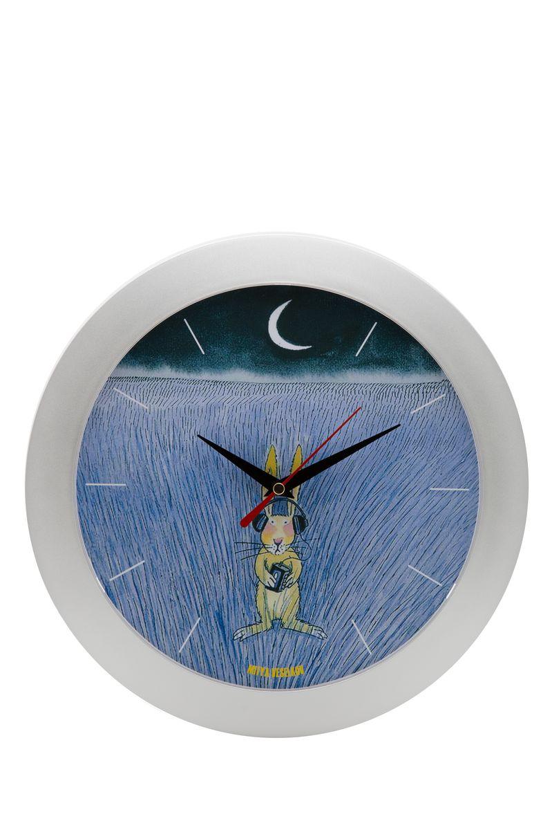 Часы настенные Mitya Veselkov Заяц-меломан, цвет: белый. MVC.NAST-038