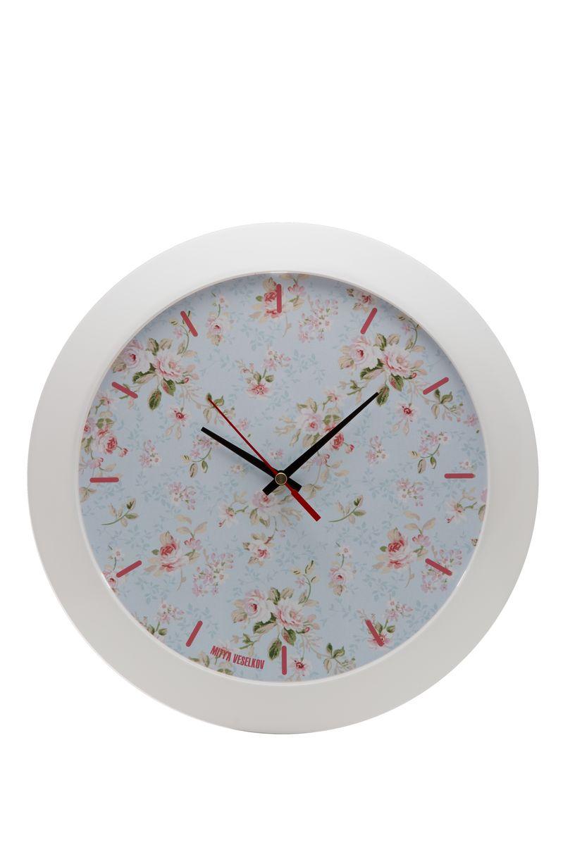 Часы настенные Mitya Veselkov Розы на голубом, цвет: белый. MVC.NAST-039