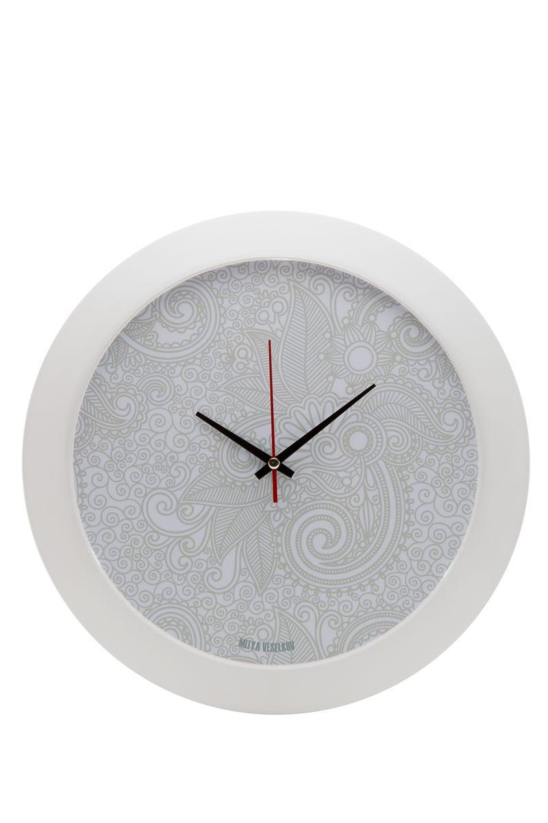 Часы настенные Mitya Veselkov Нежный узор, цвет: белый. MVC.NAST-042