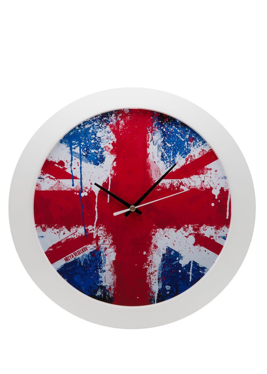 Часы настенные Mitya Veselkov Британский флаг в краске, цвет: белый. MVC.NAST-051 mitya veselkov будка в лондоне