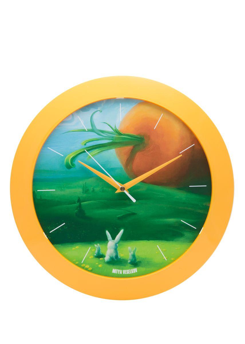 Часы настенные Mitya Veselkov Заяц и морковка, цвет: желтый. MVC.NAST-054
