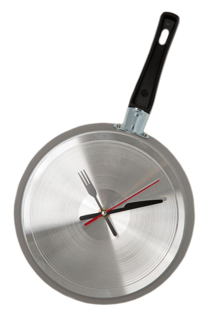 Часы настенные Mitya Veselkov Сковорода, цвет: серый металлик. SKOVSKOV