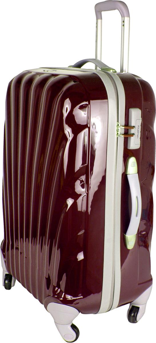 Чемодан пластиковый Polar, цвет: бордовый, 89,5 л, 68 х 47 х 28 см. Р1124(29)Р1124(29)Вес чемодана имеет большое значение после введения новых правил по авиа перевозке. Этот пластиковый чемодан весит намного меньше, чем обычные чемоданы из традиционных материалов. Материал ABS- пластик максимально устойчив к деформации. Кроме того, он обладает повышенной гибкостью, что позволяет материалу не ломаться и не трескаться при внешних нагрузках. Наши чемоданы отлично подходят для перевозки хрупких вещей. Пластик отлично защищает внутреннее содержание от любых внешних воздействий. Еще один принципиальный момент- это количество колес. Чемодан с четырьмя колесами на основании. Он более маневренный и удобный в обращении по отношению к двухколесным чемоданам. Можно просто выдвинуть ручку и катить его рядом с собой в любом направлении, при этом не будет никакой нагрузки на кисть, что очень важно, если чемодан у вас большой и тяжелый. Выдвижная ручка (выдвигается в два сложения на 52 см.), внутренняя тележка. Внутри: портплед, карман из сетки на молнии, фиксатор с зажимом для ваших вещей. Дополнительный карман для вещей ,закрывается на молнии. 4 колеса вращаются на 360 градусов. Также предусмотрен кодовый замок.
