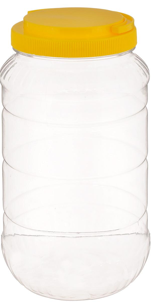 Емкость Альтернатива, с ручкой, цвет: прозрачный, желтый, 3 лM957_желтыйЕмкость Альтернатива предназначена для хранения сыпучих продуктов или жидкостей. Выполнена из высококачественного пластика. Оснащена ручкой для удобной переноски. Ручка опускается.Диаметр (по верхнему краю): 10,5 см.Высота (без учета крышки): 25 см.