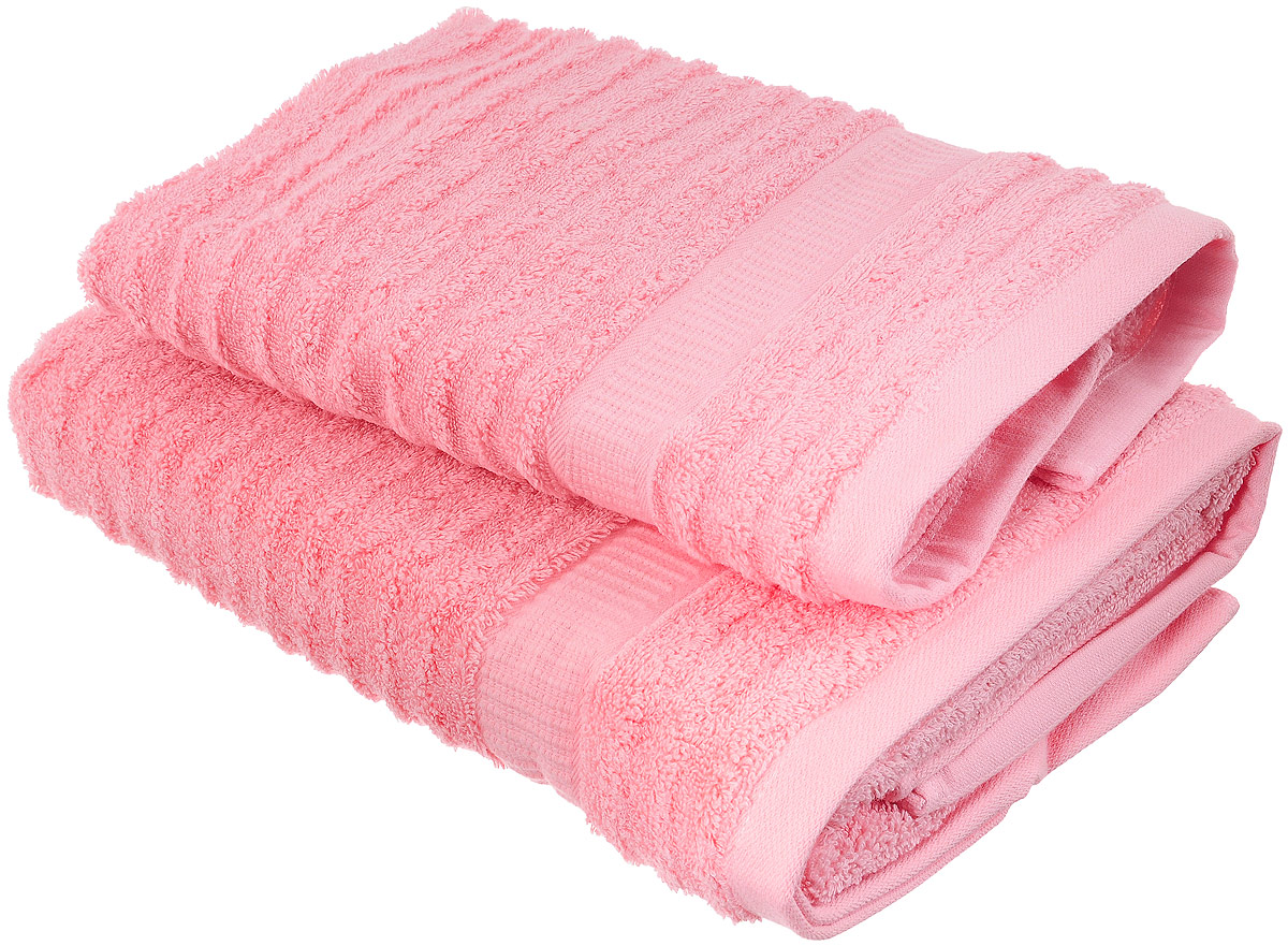 Набор хлопковых полотенец Home Textile, цвет: розовый, 2 штLX-OZ21Набор Home Textile состоит из двух полотенец разного размера, выполненных из качественной натуральной махры (100% хлопок). Полотенца имеют ворс различной длины, что создает рельефную текстуру, и классический бордюр. Мягкие и уютные, они прекрасно впитывают влагу и легко стираются. Кроме того, хлопковые полотенца отличаются высокой износоустойчивостью и долгим сроком службы. Такой набор полотенец подарит массу положительных эмоций и приятных ощущений.