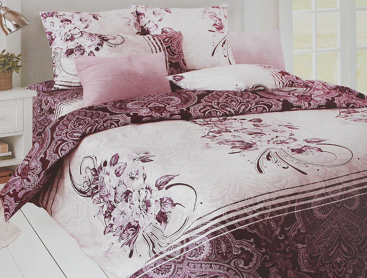 Комплект белья Tiffany's Secret Дикая слива, 1,5-спальный, наволочки 70х70, цвет: сливовый, белый, серый