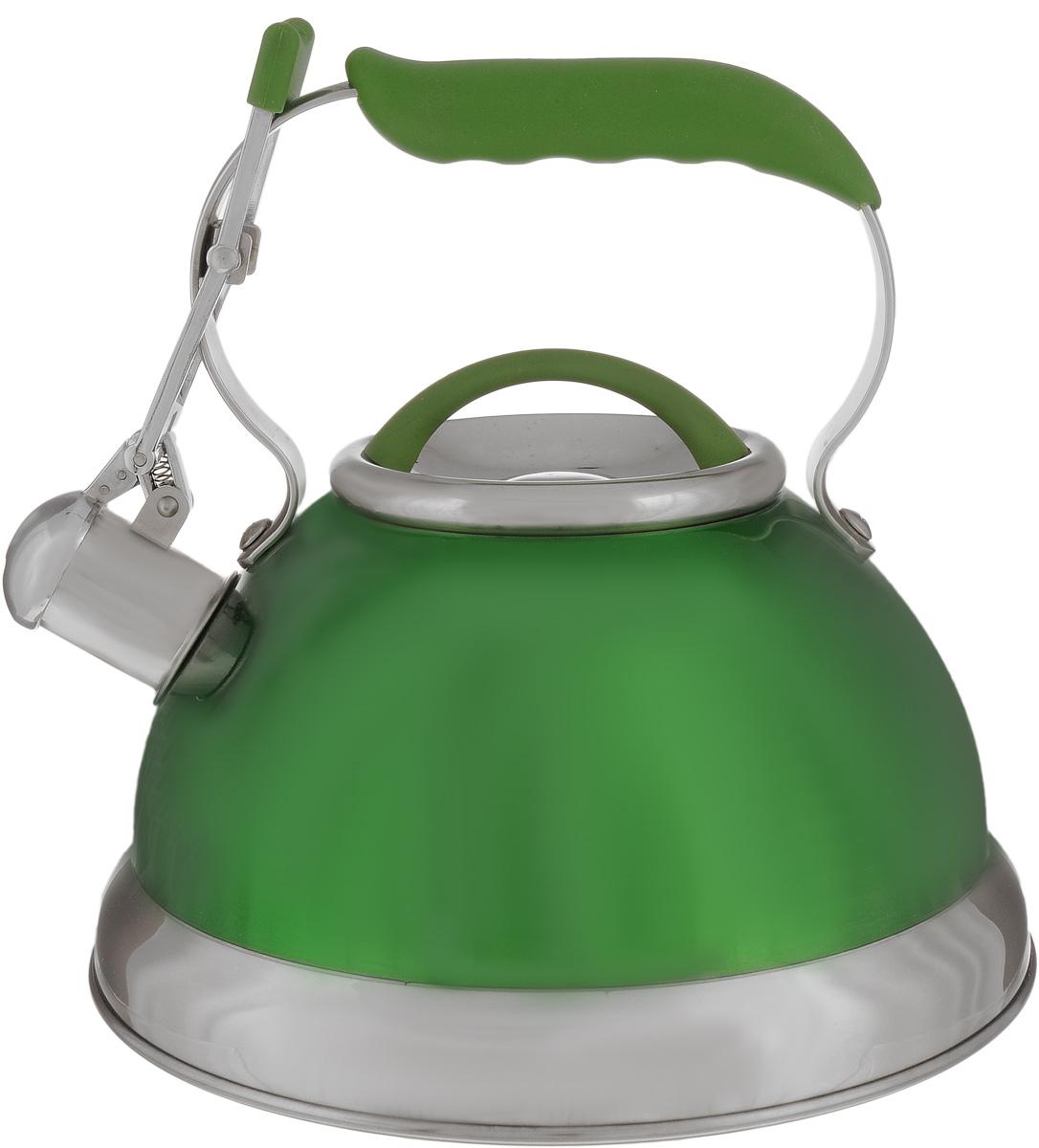 Чайник Calve, со свистком, цвет: зеленый, 2,7 лCL-1461_зеленыйЧайник Calve изготовлен из высококачественной нержавеющей стали 18/10, внешние стенки имеют цветное глянцевое покрытие. Нержавеющая сталь обладает высокой устойчивостью к коррозии, не вступает в реакцию с холодными и горячими продуктами и полностью сохраняет их вкусовые качества. Особая конструкция капсулированного дна способствует высокой теплопроводности и равномерному распределению тепла. Чайник оснащен удобной фиксированной ручкой с силиконовым покрытием. Носик чайника имеет откидной свисток с перфорацией в виде смайлика, звуковой сигнал которого подскажет, когда закипит вода. Свисток открывается с помощью рычага на ручке чайника. Чайник подходит для всех типов плит, включая индукционные. Можно мыть в посудомоечной машине.Диаметр чайника (по верхнему краю): 10 см.Высота чайника (без учета ручки и крышки): 13 см.Высота чайника (с учетом ручки): 23 см.