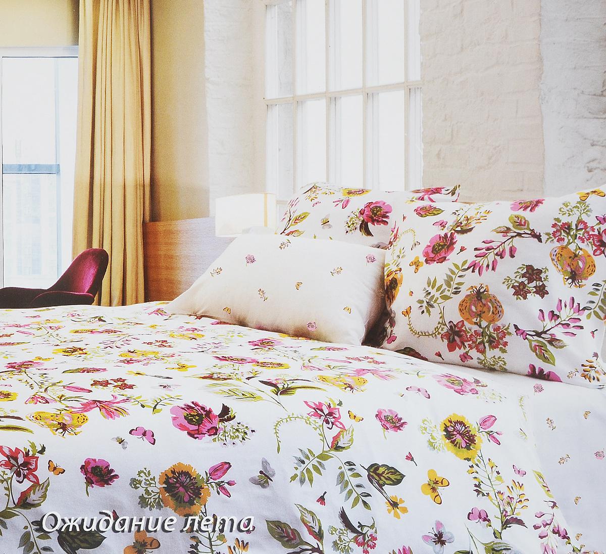 Комплект белья Tiffanys Secret Ожидание лета, 1,5-спальный, наволочки 50х70, цвет: белый, розовый, желтый2040816090Комплект постельного белья Tiffanys Secret Ожидание лета является экологически безопасным для всей семьи, так как выполнен из сатина (100% хлопок). Комплект состоит из пододеяльника, простыни и двух наволочек. Предметы комплекта оформлены оригинальным рисунком.Благодаря такому комплекту постельного белья вы сможете создать атмосферу уюта и комфорта в вашей спальне.Сатин - это ткань, навсегда покорившая сердца человечества. Ценившие роскошь персы называли ее атлас, а искушенные в прекрасном французы - сатин. Секрет высококачественного сатина в безупречности всего технологического процесса. Эту благородную ткань делают только из отборной натуральной пряжи, которую получают из самого лучшего тонковолокнистого хлопка. Благодаря использованию самой тонкой хлопковой нити получается необычайно мягкое и нежное полотно. Сатиновое постельное белье превращает жаркие летние ночи в прохладные и освежающие, а холодные зимние - в теплые и согревающие. Сатин очень приятен на ощупь, постельное белье из него долговечно, выдерживает более 300 стирок, и лишь спустя долгое время материал начинает немного тускнеть. Оцените все достоинства постельного белья из сатина, выбирая самое лучшее для себя!Советы по выбору постельного белья от блогера Ирины Соковых. Статья OZON Гид
