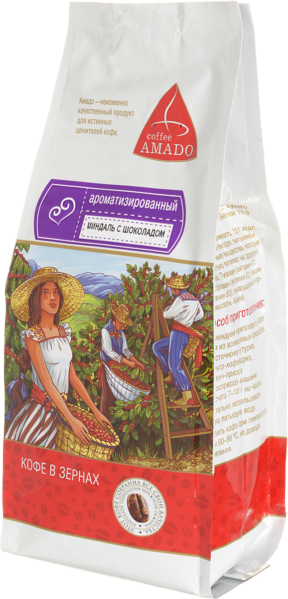 AMADO Миндаль с шоколадом кофе в зернах, 200 г4607064133321Насыщенный свежеобжаренный кофе AMADO с ароматом миндаля и шоколада подарит вам отличное настроение. Рекомендуемый способ приготовления: по-восточному, френч-пресс, гейзерная кофеварка, фильтр-кофеварка, кемекс, аэропресс.
