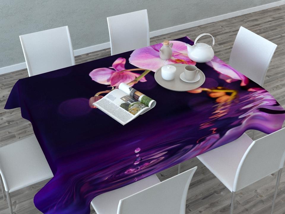 """Прямоугольная скатерть Сирень """"Орхидея над водой"""" с ярким и объемным  рисунком,  выполненная из габардина, преобразит вашу кухню, визуально расширит  пространство, создаст атмосферу радости и комфорта.   Рекомендации  по уходу: стирка при 30 градусах, гладить при температуре до 110 градусов.    Размер скатерти: 145 х 120 см.  Изображение может немного отличаться от реального."""