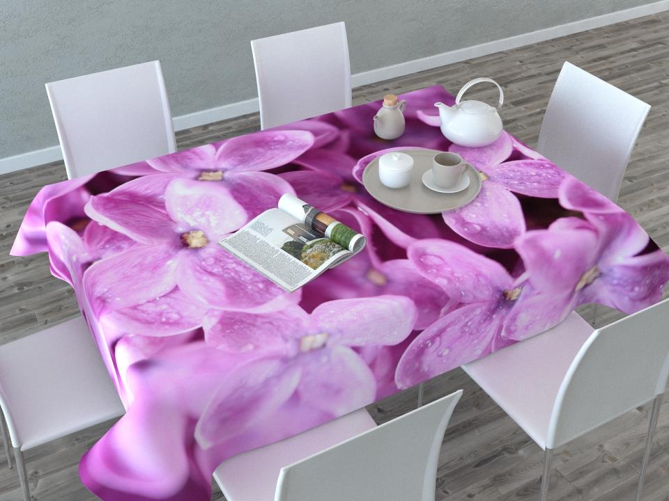 Скатерть Сирень Цветущая сирень, прямоугольная, 145 x 120 см02936-СК-ГБ-003Прямоугольная скатерть Цветущая сирень с ярким и объемным рисунком, выполненная из габардина, преобразит вашу кухню, визуально расширит пространство, создаст атмосферу радости и комфорта. Рекомендации по уходу: стирка при 30 градусах, гладить при температуре до 110 градусов.Изображение может немного отличаться от реального.