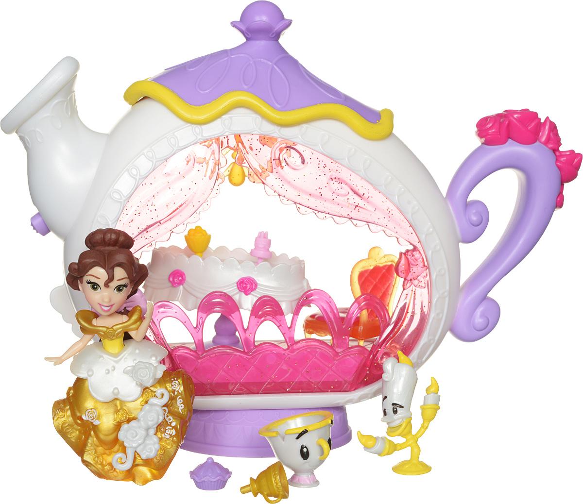 Disney Princess Игровой набор с мини-куклой Белль и заколдованная столовая