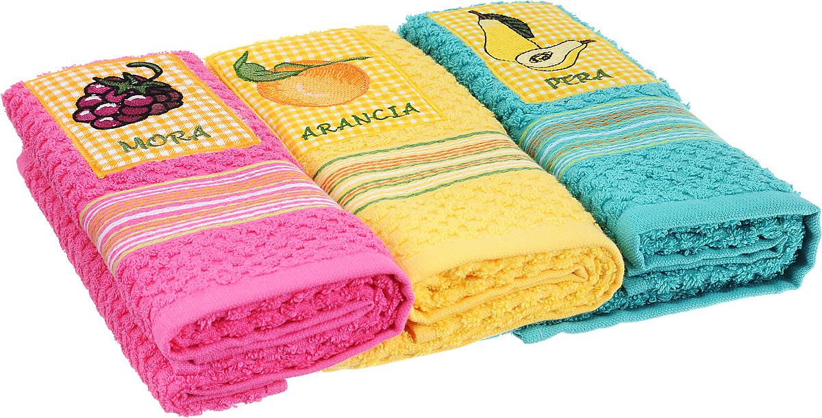 Набор полотенец Bonita Аппликация, цвет: розовый, желтый, бирюзовый, 40 х 60 см, 3 шт2001311957_ежевика, апельсин, грушаНабор из трех полотенец Bonita Аппликация, изготовленных из натурального хлопка, идеально дополнит интерьер вашей кухни и создаст атмосферу уюта и комфорта. Каждое полотенце оформлено вышивкой.Изделия выполнены из натурального материала, поэтому являются экологически чистыми. Высочайшее качество материала гарантирует безопасность не только взрослых, но и самых маленьких членов семьи. Современный декоративный текстиль для дома должен быть экологически чистым продуктом и отличаться ярким и современным дизайном.