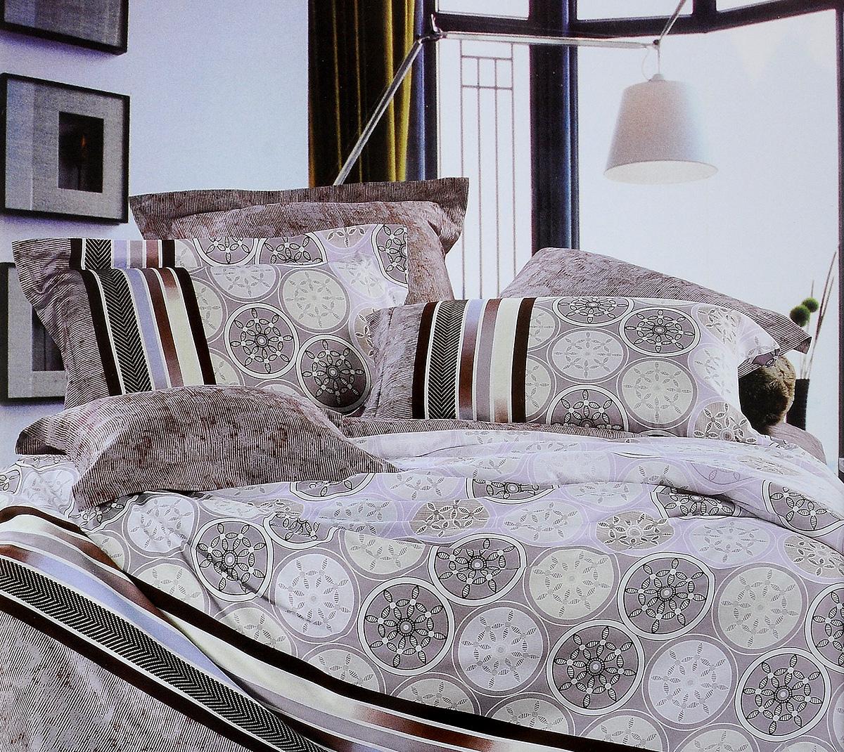 Комплект белья Tiffanys Secret Монако, евро, наволочки 70х70, цвет: кофейный204111212Комплект белья Tiffanys Secret Монако, выполненный из сатина (100% хлопка), состоит из пододеяльника, простыни и двух наволочек.Сатин производится из высших сортов хлопка, а своим блеском, легкостью и на ощупь напоминает шелк. Такая ткань рассчитана на 200 стирок и более. Постельное белье из сатина превращает жаркие летние ночи в прохладные и освежающие, а холодные зимние - в теплые и согревающие. Благодаря натуральному хлопку, комплект постельного белья из сатина приобретает способность пропускать воздух, давая возможность телу дышать. Одно из преимуществ материала в том, что он практически не мнется и ваша спальня всегда будет аккуратной и нарядной..Приобретая комплект постельного белья Tiffanys Secret Монако, вы можете быть уверенны в том, что покупка доставит вам и вашим близким удовольствие и подарит максимальный комфорт.