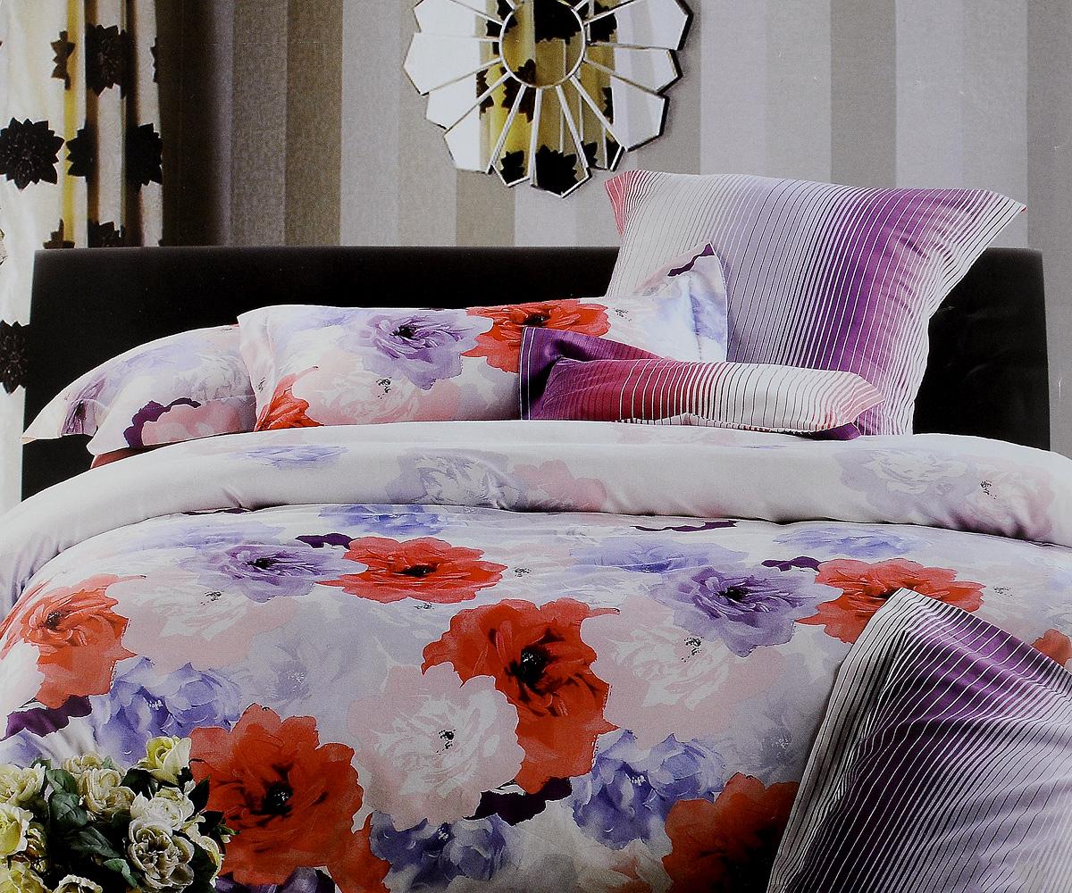 Комплект белья Tiffanys Secret Букет, евро, наволочки 70х70, цвет: белый, розовый, фиолетовый204111204Комплект постельного белья Tiffanys Secret Букет является экологически безопасным для всей семьи, так как выполнен из сатина (100% хлопок). Комплект состоит из пододеяльника, простыни и двух наволочек. Предметы комплекта оформлены оригинальным рисунком.Благодаря такому комплекту постельного белья вы сможете создать атмосферу уюта и комфорта в вашей спальне.Сатин - это ткань, навсегда покорившая сердца человечества. Ценившие роскошь персы называли ее атлас, а искушенные в прекрасном французы - сатин. Секрет высококачественного сатина в безупречности всего технологического процесса. Эту благородную ткань делают только из отборной натуральной пряжи, которую получают из самого лучшего тонковолокнистого хлопка. Благодаря использованию самой тонкой хлопковой нити получается необычайно мягкое и нежное полотно. Сатиновое постельное белье превращает жаркие летние ночи в прохладные и освежающие, а холодные зимние - в теплые и согревающие. Сатин очень приятен на ощупь, постельное белье из него долговечно, выдерживает более 300 стирок, и лишь спустя долгое время материал начинает немного тускнеть. Оцените все достоинства постельного белья из сатина, выбирая самое лучшее для себя!
