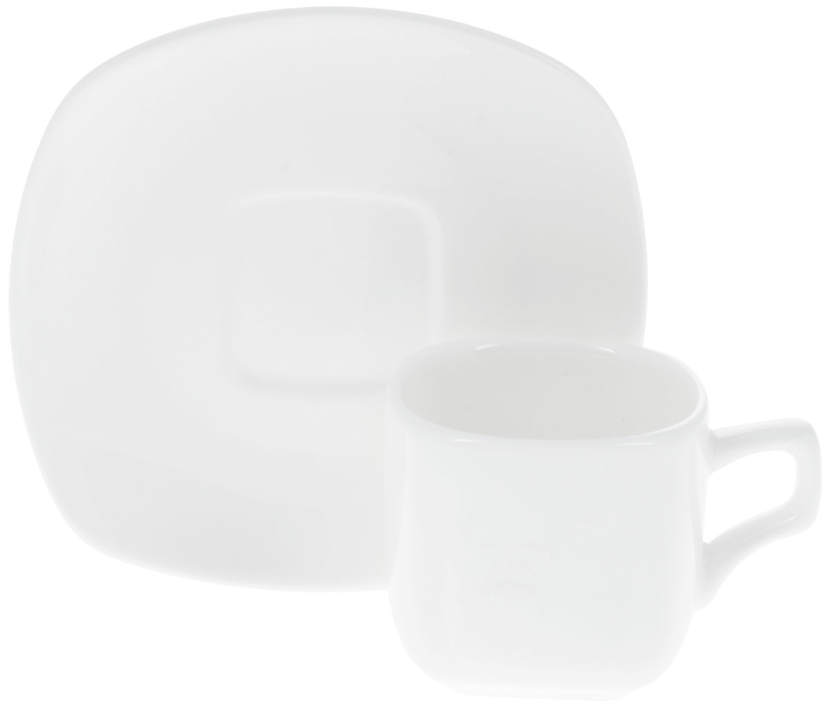 Кофейная пара Wilmax, 2 предмета. WL-993041 / ABWL-993041 / ABКофейная пара Wilmax состоит из кофейной чашки и квадратного блюдца, изготовленных из высококачественного глазурованного фарфора. Материал легкий, тонкий, свет без труда проникает сквозь изделия. Посуда имеет роскошную белизну, гладкость и блеск достигаются за счет особой рецептуры глазури. Изделия обладают низкой водопоглощаемостью, высокой термостойкостью и ударопрочностью, а также экологичностью. Посуда долговечна и рассчитана на постоянное интенсивное использование. Гладкая непористая поверхность исключает проникновение бактерий, изделия не будут впитывать посторонние запахи и сохранят первоначальный цвет. Кофейная пара Wilmax - это функциональная, практичная и легкая в уходе посуда. Классический лаконичный дизайн дополнит сервировку вашего стола. Можно мыть в посудомоечной машине и использовать в микроволновой печи. Объем чашки: 90 мл. Размер чашки (по верхнему краю): 5,5 х 5,5 см. Высота стенки чашки: 5 см. Размер блюдца: 11,5 х 11,5 см.