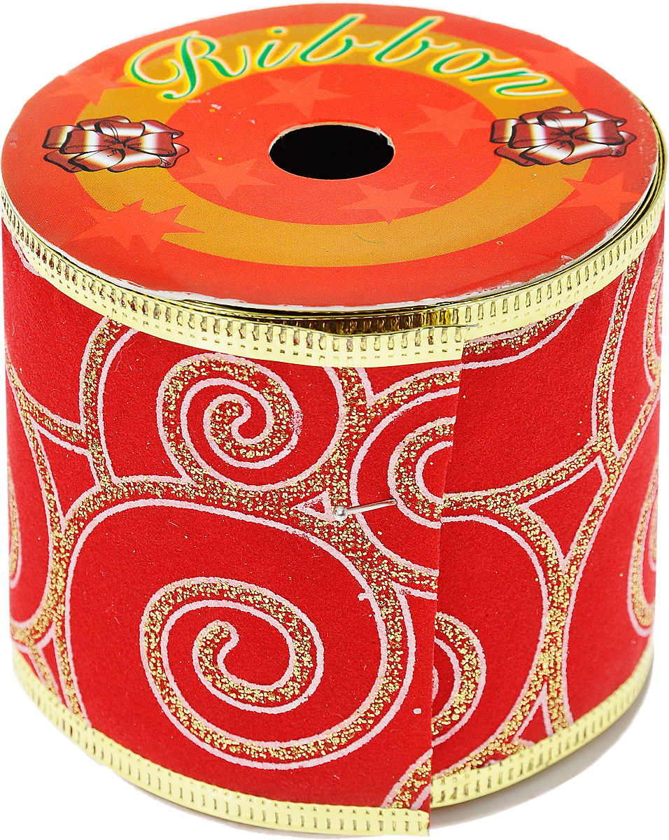 Декоративная лента Феникс-Презент, цвет: красный, 2,7 м. 3539235392Декоративная лента Феникс-презент выполнена из полиэстера и декорирована оригинальным узором и блестками. В края ленты вставлена проволока, благодаря чему ее легко фиксировать. Лента предназначена для оформления подарочных коробок, пакетов. Кроме того, декоративная лента с успехом применяется для художественного оформления витрин, праздничного оформления помещений, изготовления искусственных цветов. Декоративная лента украсит интерьер вашего дома к любым праздникам.Ширина ленты: 6,3 см.