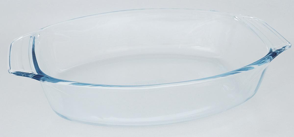 Форма для запекания Pyrex Optimum, овальная, 35 х 24 см411B000/6146Форма для запекания Pyrex Optimum изготовлена из закаленного боросиликатного стекла, что отвечает строгим европейским нормам безопасности EN 1183. Такое стекло обладает повышенной ударопрочностью, жаропрочностью (от -40°С до +300°С) и выдерживает резкий перепад температур в 220°С. Форма также устойчива к образованию пятен и царапин, не впитывает посторонние запахи. Изделие экологично, поэтому безопасно для использования. Форма овальная, удобна для запекания мяса, курицы, овощей. Для комфортного использования снабжена двумя ручками. Подходит для духовки, микроволновой печи, можно мыть в посудомоечной машине, ставить в холодильник и морозильную камеру. Размер формы (с учетом ручек): 35 х 24 см. Внутренний размер формы: 28 х 22,5 см. Высота стенки: 6,8 см.