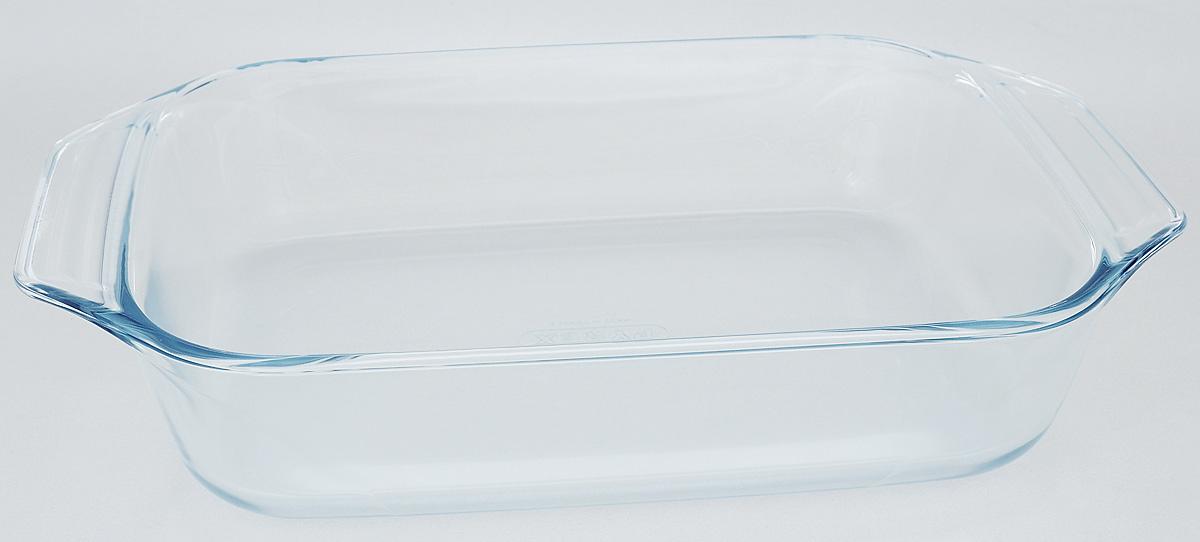 """Форма для запекания Pyrex """"Optimum"""" изготовлена из закаленного боросиликатного стекла, что отвечает строгим европейским нормам безопасности EN 1183. Такое стекло обладает повышенной ударопрочностью, жаропрочностью (от -40°С до +300°С) и выдерживает резкий перепад температур в 220°С. Форма также устойчива к образованию пятен и царапин, не впитывает посторонние запахи. Изделие экологично, поэтому безопасно для использования.  Форма прямоугольная и очень вместительная, удобна для запекания мяса, курицы, овощей. Для комфортного использования снабжена двумя ручками.  Подходит для духовки, микроволновой печи, можно мыть в посудомоечной машине, ставить в холодильник и морозильную камеру.  Размер формы (с учетом ручек): 35 х 23 см.  Внутренний размер формы: 28 х 21,5 см.  Высота стенки: 6,5 см."""