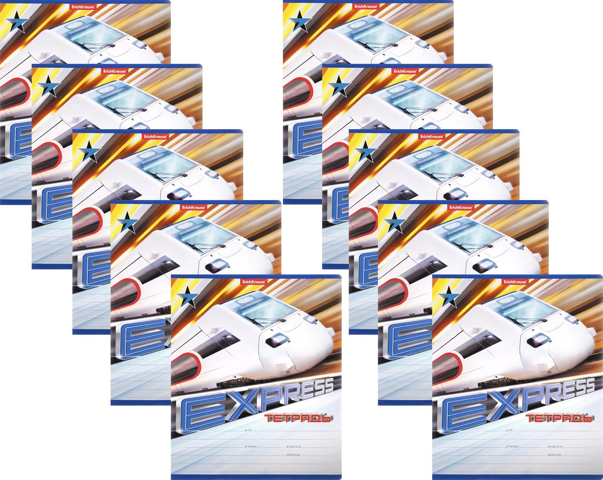Erich Krause Набор тетрадей Express Train 18 листов в линейку 10 шт цвет белый40110_белый2Набор тетрадей Erich Krause Express Train предназначен для младших школьников. Обложка каждой тетради выполнена из плотного картона с закругленными углами и оформлена динамичным изображением поезда. На обратной стороне обложки имеется справочная информация (русский и английский прописные алфавиты).Внутренний блок состоит из 18 листов белой бумаги в линейку с красными полями.В наборе 10 тетрадей.